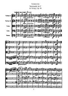 Серенада для струнного оркестра, TH 48 Op.48: Партитура by Петр Чайковский