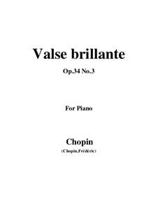 Вальсы, Op.34: No.3 in F Major by Фредерик Шопен