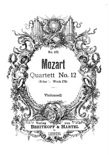 Струнный квартет No.12 cи-бемоль мажор, K.172: Партия виолончели by Вольфганг Амадей Моцарт