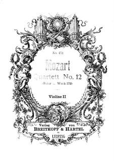 Струнный квартет No.12 cи-бемоль мажор, K.172: Партия второй скрипки by Вольфганг Амадей Моцарт