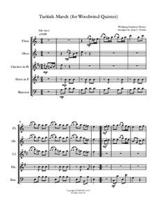 Турецкое рондо: For woodwind quintet by Вольфганг Амадей Моцарт