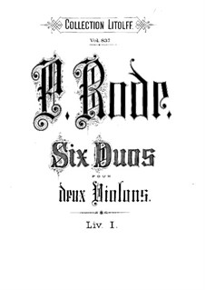 Шесть дуэтов для двух скрипок, Op.2: Скрипка I by Пьер Роде