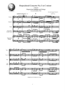 9 Concertos for Harpsicord obbligato and Strings: Concerto No.3 in C minor, CSPla20 by Джованни Бенедетто Платти