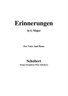 Воспоминания, D.98: Для голоса и фортепиано (G Major) by Франц Шуберт