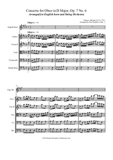 Concerto No.6 in D Major: For english horn and string orchestra by Томазо Альбинони