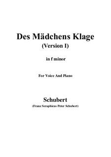 Des Mädchens Klage (The Maiden's Lament), D.6: Для голоса и фортепиано (F minor) by Франц Шуберт