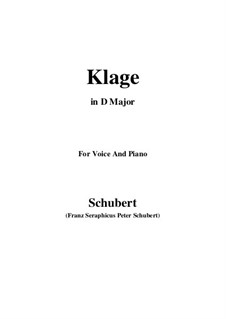Klage (Lament), D.415: For voice and piano (b minor) by Франц Шуберт
