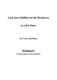 Песнь моряка диоскурам, D.360 Op.65 No.1: Для голоса и фортепиано (A Flat Major) by Франц Шуберт