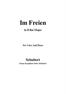 Im Freien (In the Open), D.880 Op.80 No.3: For voice and piano (D flat Major) by Франц Шуберт