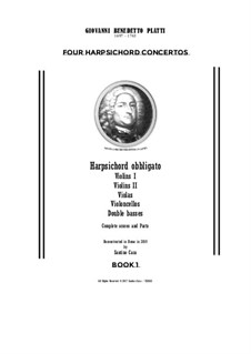 9 Concertos for Harpsicord obbligato and Strings: Concertos Nos.1-4 – full score and parts, CSPla22 by Джованни Бенедетто Платти