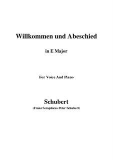 Willkommen und Abschied, D.767 Op.56 No.1: Для голоса и фортепиано (E Major) by Франц Шуберт