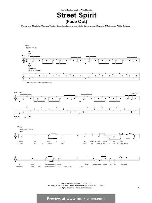 Street Spirit (Fade Out): Гитарная табулатура by Colin Greenwood, Ed O'Brien, Jonny Greenwood, Phil Selway, Thomas Yorke