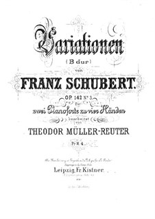 Четыре экспромта для фортепиано, D.935 Op.142: Экспромт No.3, для двух фортепиано в четыре руки – партия II фортепиано by Франц Шуберт