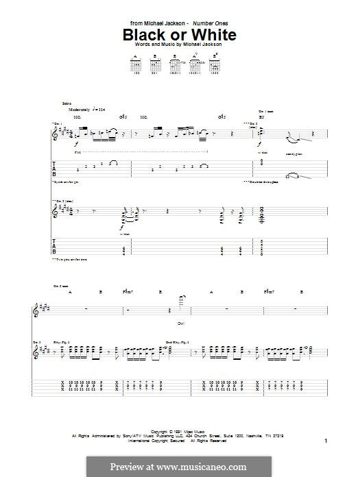 Black or White: Гитарная табулатура by Bill Bottrell, Michael Jackson