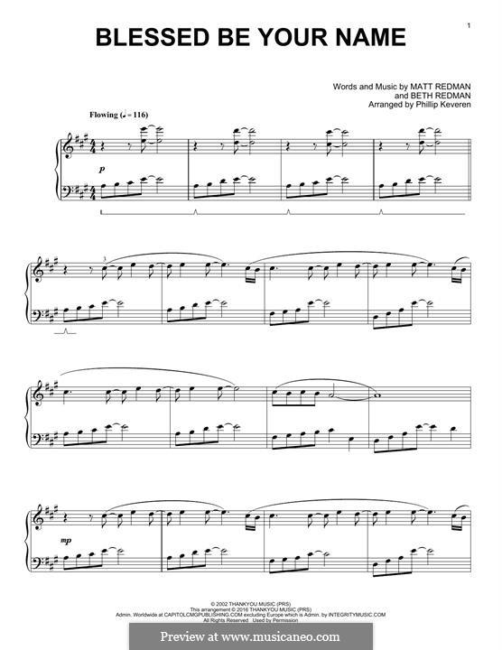 Blessed Be Your Name: Для фортепиано by Matt Redman, Beth Redman