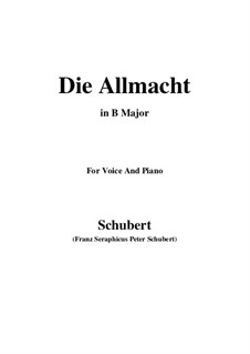 Die Allmacht (The Almighty), D.852 Op.79 No.2: For voice and piano (B Major) by Франц Шуберт