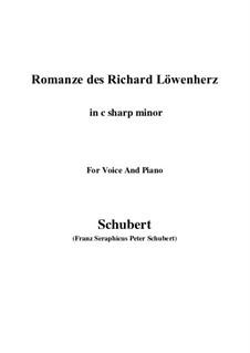 Романс Ричарда Львиное Сердце, D.907 Op.86: For voice and piano (c sharp minor) by Франц Шуберт