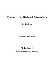 Романс Ричарда Львиное Сердце, D.907 Op.86: For voice and piano (e flat minor) by Франц Шуберт