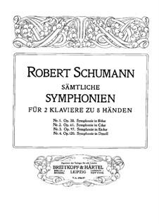 Симфония No.1 си-бемоль мажор 'Весенняя', Op.38: Версия для двух фортепиано в восемь рук – партии второго фортепиано by Роберт Шуман