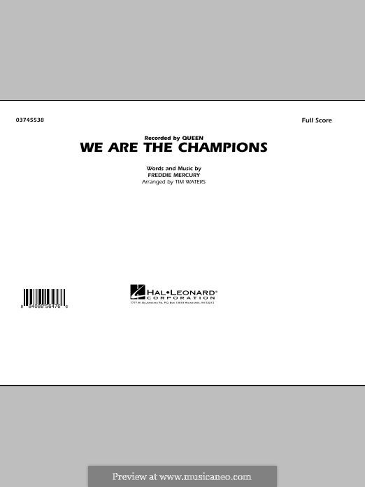 We are the Champions (Queen): Full score (by Tim Waters) by Freddie Mercury