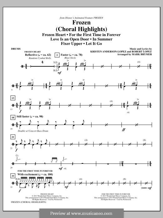 Frozen (Choral Highlights): Drums part by Robert Lopez, Kristen Anderson-Lopez