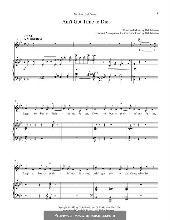 Ain't Got Time to Die: Для голоса и фортепиано by Hall Johnson