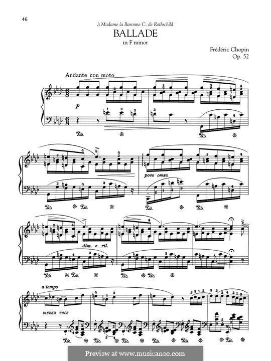 Баллада No.4 фа минор, Op.52: Для фортепиано by Фредерик Шопен