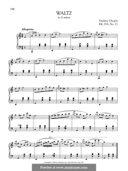 Вальс ля минор, B.150 KK IVb/11: Для фортепиано by Фредерик Шопен