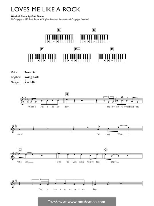 Loves Me Like a Rock: Для фортепиано by Paul Simon