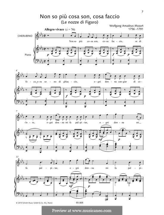 Non so più cosa son, cosa faccio: Для голоса и фортепиано by Вольфганг Амадей Моцарт