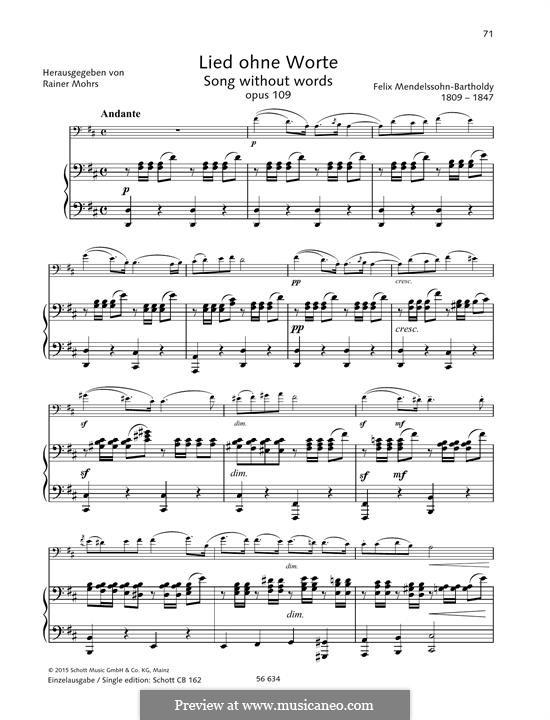 Песня без слов для виолончели и фортепиано, Op.109: Версия для скрипки и фортепиано by Феликс Мендельсон-Бартольди