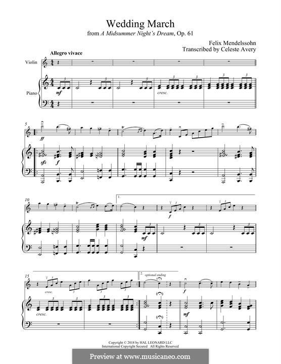 Wedding March (Printable Scores): Для скрипки и фортепиано by Феликс Мендельсон-Бартольди