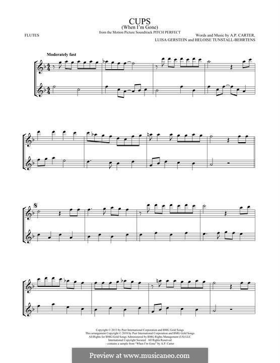 Cups (When I'm Gone): Для двух флейт by A.P. Carter, Luisa Gerstein, Heloise Tunstall-Behrens