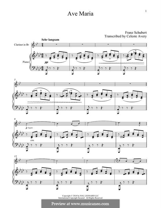 Ave Maria (Printable Scores), D.839 Op.52 No.6: Для кларнета и фортепиано by Франц Шуберт