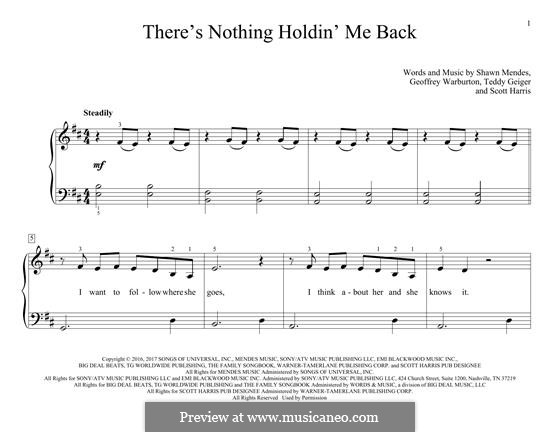 There's Nothing Holdin' Me Back: Для фортепиано by John Theodore Geiger, Scott Harris, Shawn Mendes, Geoffrey Warburton