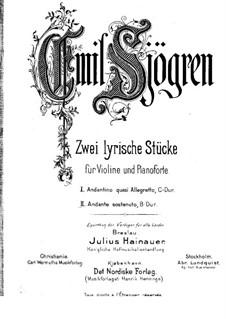 Две лирические пьесы для скрипки и фортепиано: No.2 Анданте состенуто – партитура by Эмиль Шёгрен