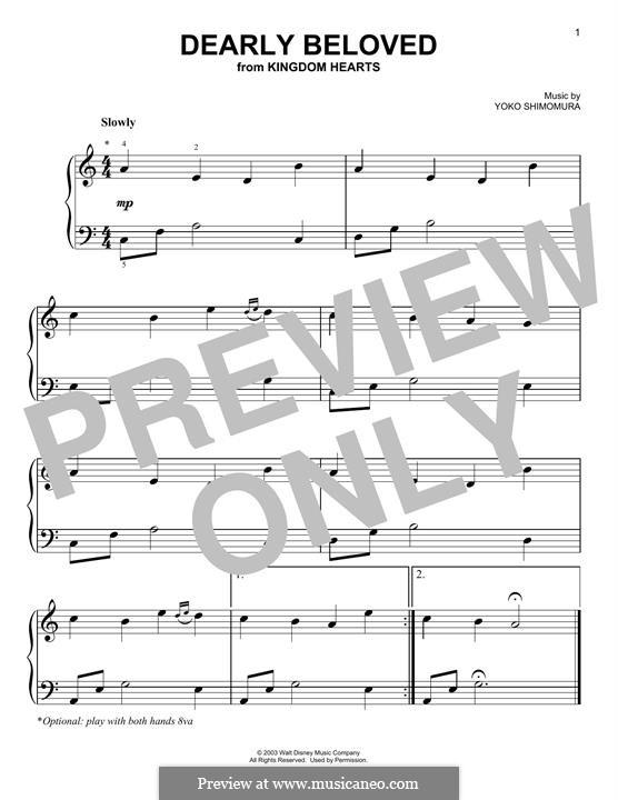 Dearly Beloved (from Kingdom Hearts): Для фортепиано by Yoko Shimomura