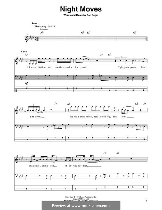 Night Moves: Для бас-гитары с табулатурой by Bob Seger