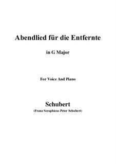 Abendlied für die Entfernte (Evening Song for the Distant Beloved), D.856 Op.88 No.1: Для голоса и фортепиано (G Major) by Франц Шуберт