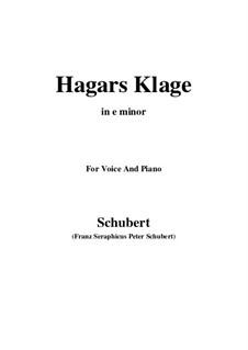 Hagars Klage (Hagar's Lament), D.5: E minor by Франц Шуберт