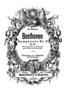 Симфония No.2, Op.36: Версия для фортепиано в четыре руки, скрипки и виолончели – партии фортепиано by Людвиг ван Бетховен