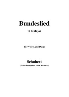 Bundeslied (Song of Fellowship): B Major by Франц Шуберт
