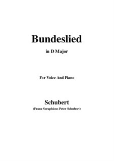 Bundeslied (Song of Fellowship): D Major by Франц Шуберт