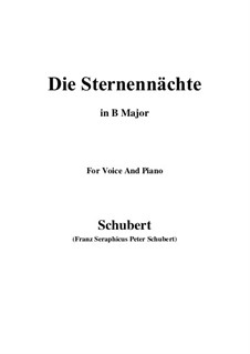 Die Sternennächte (The Starry Nights), D.670 Op.165 No.2: B Major by Франц Шуберт