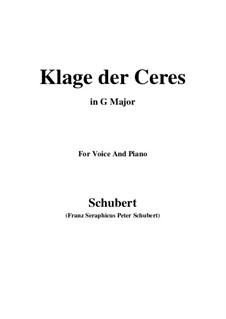 Klage der Ceres (Lament of Ceres), D.323: G Major by Франц Шуберт