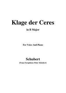 Klage der Ceres (Lament of Ceres), D.323: B Major by Франц Шуберт