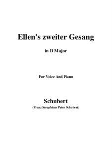 Ellen's Song II, D.838 Op.52 No.2: Для голоса и фортепиано (D Major) by Франц Шуберт