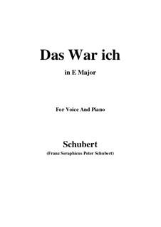 Das war ich (That was I), D.174: E Major by Франц Шуберт