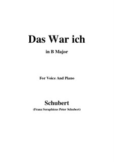 Das war ich (That was I), D.174: B Major by Франц Шуберт