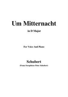 Um Mitternacht (At Midnight), D.862 Op.88 No.3: Для голоса и фортепиано (D Major) by Франц Шуберт